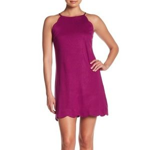 Love...Ady White Scalloped Trim Shift Dress